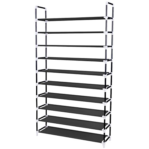 SONGMICS 10 Tiers Shoe Rack 50 Pairs Non-woven Fabric Shoe Tower Organizer Cabinet Balck ULSH11H (Direct Access Solutions compare prices)