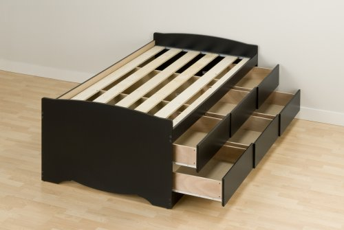 Prepac Sonoma Black Tall Twin/Mates Platform Storage Bed (6-drawers)