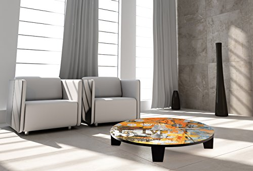 "TAF DECOR ""Move on 56"" Art Coffee Table, 35"" X 35"" X 7.5"", Multicolored"