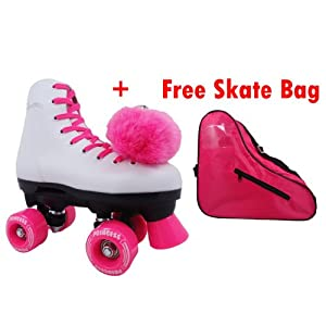 Epic Princess Pink Kids Girls Childrens Quad Indoor/Outdoor Roller Skates with Skate Bag
