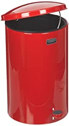 Rubbermaid Commercial FGST35EPLRD The Defenders Steel Step Trash Can with Plastic Liner, 3.5-Gallon, Red