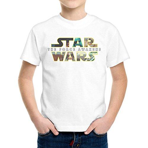 T-Shirt Bambino Ragazzo Scritta Star Wars Film Cult -