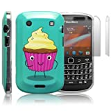 Blackberry Bold 9900 'Naughty Nibbles Cupcake' (designed by Creative Eleven) TPU Gel Skin / Case / Cover + 2-in-1 Screen Protector Pack - Part Of The Qubits Accessories Range