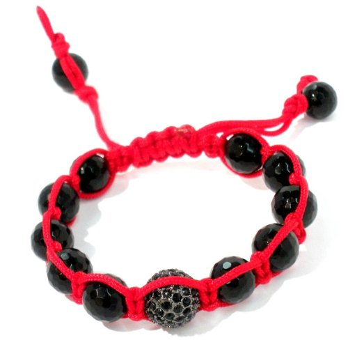 Shamballa 12mm Gunmetal Jet Crystal Pave and 10mm Faceted Onyx Bracelet with Red String Adjustable Unisex Handmade