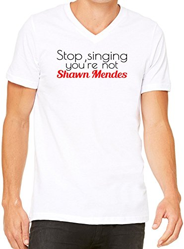 Stop Singing you're Not Shawn Mendes Slogan T-Shirt V-Collo Donne Medium