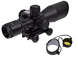 TMS® 2.5-10x40 Tactical Rifle Scope Mil-dot Dual Illuminated w/ Red Laser & Mount New