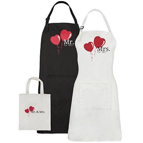 Mr. and Mrs. Aprons Est. 2017 Heart Wedding Gift - With Cotton Gift Bag - For Couples Bridal Shower Engagement Anniversary