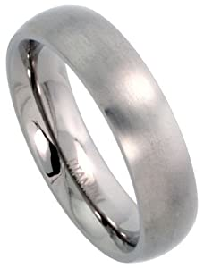 Titanium 5mm Domed Wedding Band / Thumb Ring Matte finish Comfort-fit, size 8