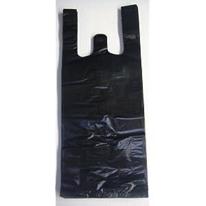 Image: KO PACKAGING 100ct Black Plastic T-shirt Shopping Bags (6x4x15-13mic)