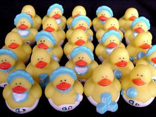 Two Dozen (24) Blue BOY Mini Rubber Ducky Duck Baby Shower Birthday Party Favors