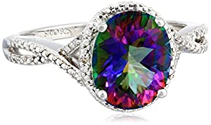 Sterling Silver Mystic Fire Topaz and Diamond-Accented Oval Ring, Size 7 by The Aaron Group - HK DI