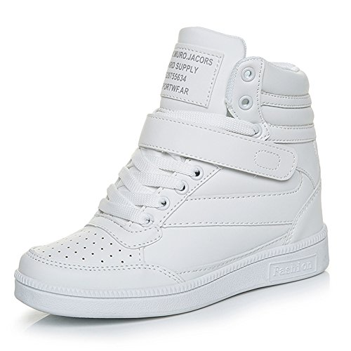Scarpe Zeppa Sneakers interna Donna lacci alta zeppa Tacco Sportive Scarpe da Ginnastica 7 CM Bianco 37