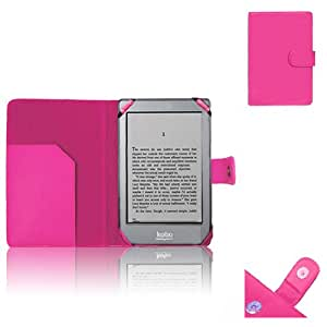 Xtra-Funky Exclusive PU Leather Case Wallet Cover For WHsmith's Kobo Glo E-Reader Device (KOBO GLO, HOT PINK)
