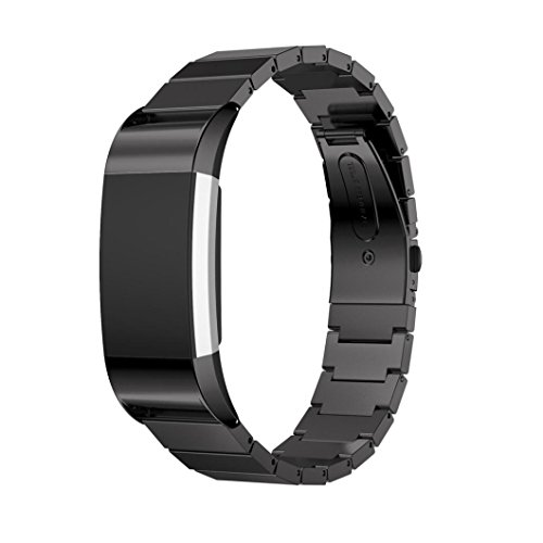 Creazy Genuine Stainless Steel Bracelet Smart Watch Band Strap For Fitbit Charge 2 (Black)