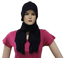 Romano Womens Winter Blue Wool Cap With Scarf Attached