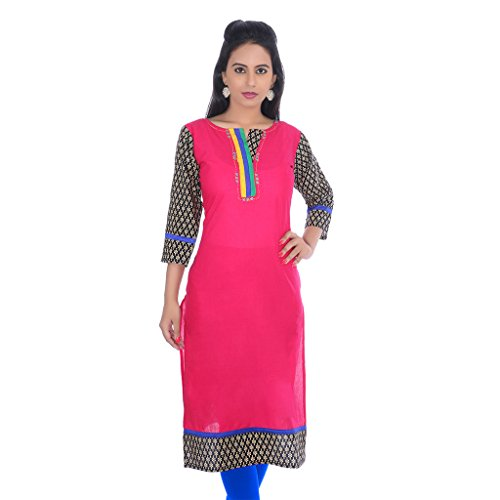 Rung Women's Cotton Embroidered Pink 3/4th Sleeves Long Kurti