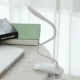 LEDniceker Minimalism Clip-on LED Table Lamp/Desk Reading Light, USB Charge Cable, Free Twisted Tube, Touch Sensor, 3 Level Adjustable Brightness(White)