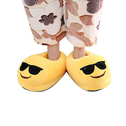 Huiyuzhi Cute Emoji Home Unisex Adult Cartoon Plush Slipper (One Size, Cool Face) (Cool Slippers For Women compare prices)