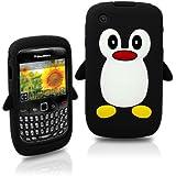 Tinkerbell Trinkets® Schwarz Blackberry Curve 8520 8530 9300 3G Pinguin niedlichen Tier Silikonhülle Shell Beschützer Handy Smartphone Zubehör