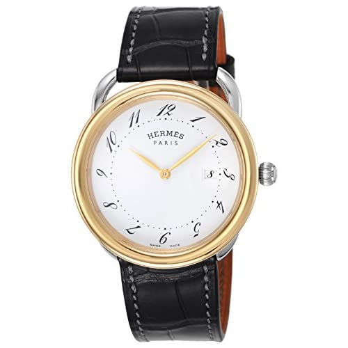 [エルメス]HERMES 腕時計 アルソー ホワイト文字盤 K18YG/ステンレス アリゲーター革 AR5.720.130/MGA メンズ 【並行輸入品】