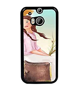 PrintDhaba Sitting Girl D-2658 Back Case Cover for HTC ONE M8s (Multi-Coloured)