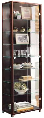Dark Wood Double Glass Door Display Cabinet with 4 Moveable Glass Shelves & Spotlight