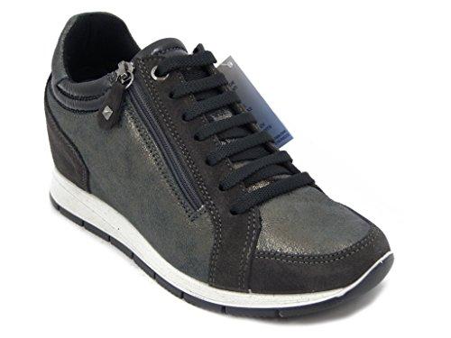 Imac Scarpa donna, sneaker in pelle colore grigio antracite, con stringhe e zip laterale, zeppa interna 3cm., 63371 i16
