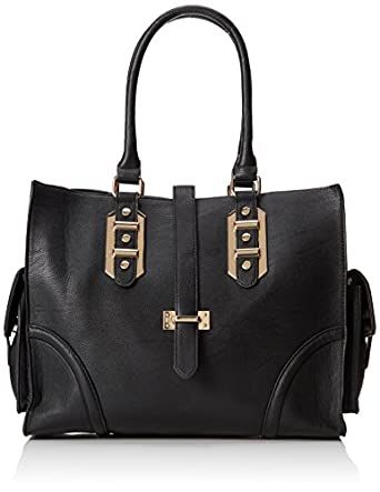 BIG BUDDHA Porter Satchel Tote Top Handle Bag,Black,One Size