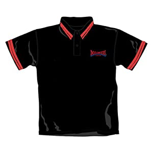 Madness Polo Shirt Squeezed Logo Black Polo Red Trim In