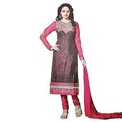 Zubeda Women's Brasso Patch Work Semi Stitched Dress Material (AB277_Grey Pink_Free Size)