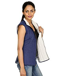 RajRang Cotton Women's Jacket (JKT00222-L_Blue & White_Chest-38