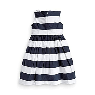Picama Kids Girls Stylish One Piece Dress Bow Striped Zipper Tutu Dress Skirts