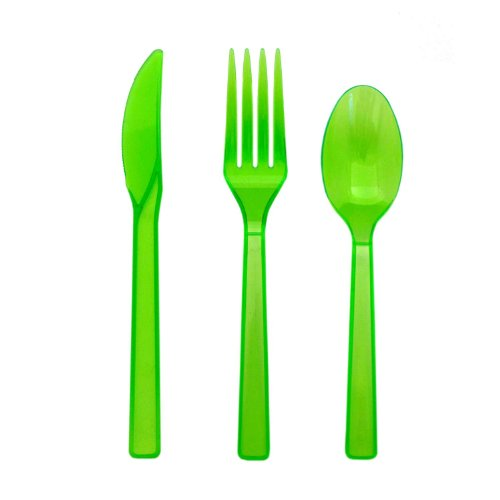 Party Essentials N245175 Brights Assorted Plastic Cutlery, Neon Green (24 Packs Of 51 Spoons/Knives/Forks)