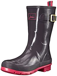 Joules Women\'s Kelly Welly Gloss Rain Boot, Slate, 7 M US