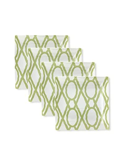 Split P Set of 4 Pistachio Trellis 10.75 Square Dinner Plates