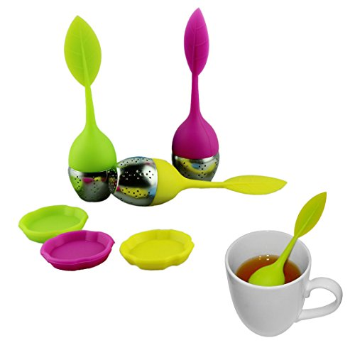 Voberry® 3Pcs High Quality Cute Silicone Leaf Stainless Steel Tea Infuser Tea Ball Tea Bag Filter Strainer (Color Sent Randomly)