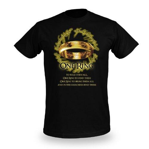 Il Signore degli Anelli - Motivo stampa de L'Unico - Stampa frontale One Ring - Girocollo - Nero - XL