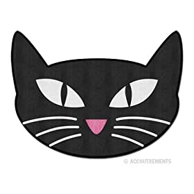 Retro Black Cat Throw Rug Bath Mat