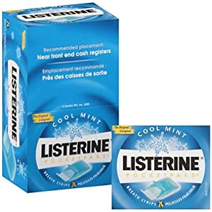 Listerine Pocket Paks Oral Care Strips, Kills Germs for Fresh Breath - 12 Packs (24 strips per pack)