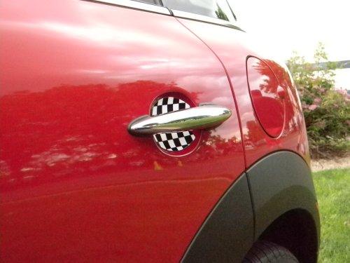 Mini Cooper Checkered Flag Car Door Handle Scratch Guards Protectors Qty 2 Fit All (Mini Cooper Car Parts compare prices)