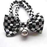 Blingy's® Stylish Black and White Block Pattern Bowknot Collar/Bow-Tie with Bell for Cats or Dogs(With Blingy's Gift Bag Packed)