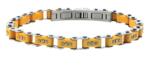 Unisex Designer Stainless Steel Yellow Bicycle Link Bracelet 7