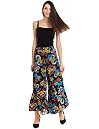Moderno Casual Floral Print Plazo Flair Plazo Multi Color Color Crepe For Women And Girls