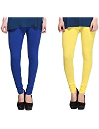 Leggings Free Size Cotton Lycra Churidar Leggings - Pack Of 2 Of Dark Bluen & Yellow Colour By SMEXY