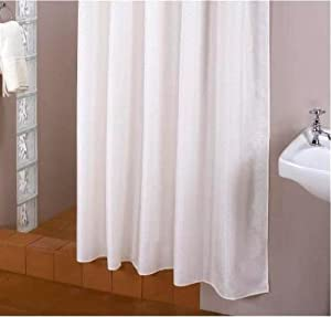 rideau de douche blanche 180x230 textile! 180 large 230 haut!! bagues inclue! **EXTRA long** parfait pour hauts plafonds!