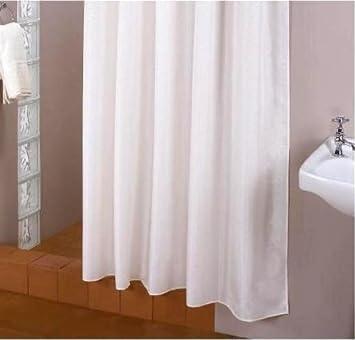 rallonge textile rideau de de douche blanche 200x220 cm bagues de de douche inclue. Black Bedroom Furniture Sets. Home Design Ideas