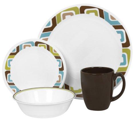 Corelle Livingware 16 piece Dinnerware Set, Service for 4, Squared