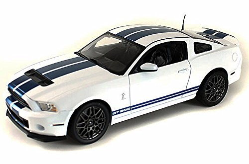 2013 Ford Shelby Cobra GT500 SVT White with Blue Stripes 1/18 by Shelby Collectibles SC394