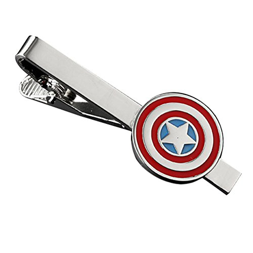 MGS Men's Tie Bar Clip Clasp Personalized Engraving Captain America The Avengers Superhero Marvel Comics Copper Red Silver Suit Shirt Wedding
