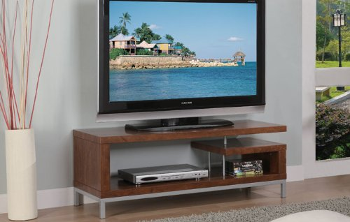 Image of Contemporary TV Stand with CD Shelf in Walnut Finish (F4431)